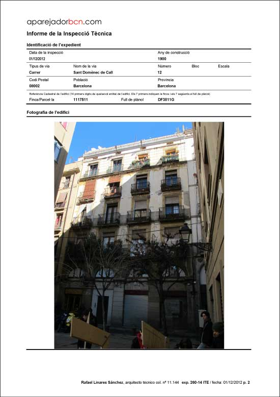 ITE C/ Sant Domènec del Call nº 12. 08002 - Barcelona.
