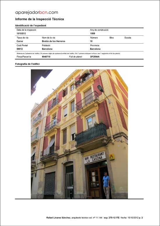 ITE C/ Bretón de los Herreros nº 18. 08012 - Barcelona.
