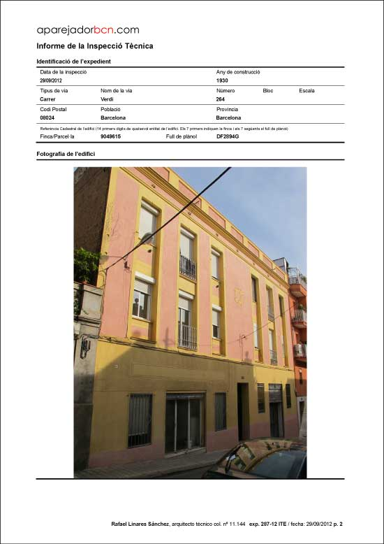 ITE C/ Verdi nº 264. 08024 - Barcelona.