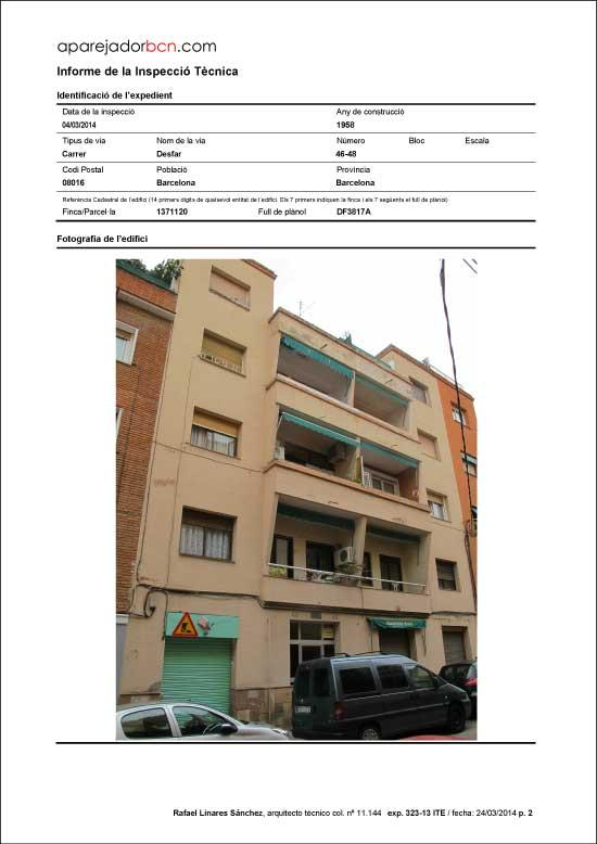ITE C/ Desfar nº 46-48. 08016 - Barcelona.