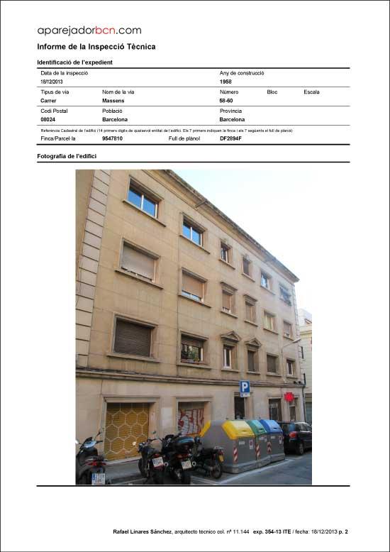 ITE C/ Massens nº 58-60. 08024 - Barcelona.
