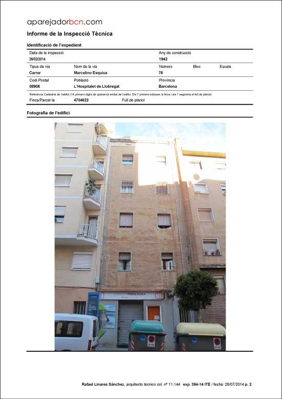 ITE C/ Marcelino Esquius nº 76. 08906 - L'Hospitalet de Llobregat.